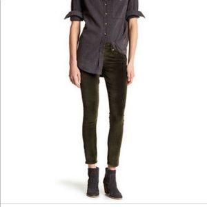 Lucky Brand dark green velvet skinny jean